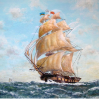 Tall Ship – Full Sail – W.R. Kimber – Surrey Artist Bill Kimber – Byfleet Art Society