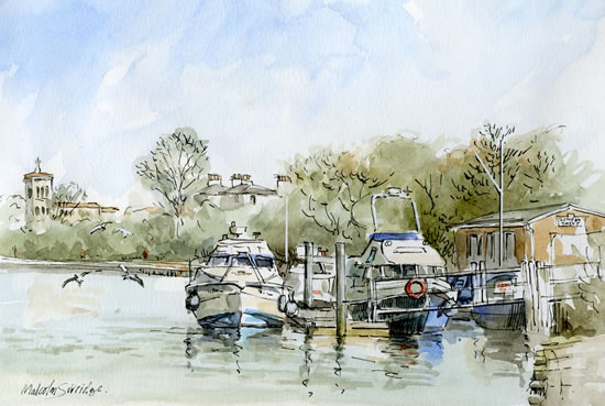Thames Boats - Malcolm Surridge - Artist - Pen and Ink Drawings - Surrey Artists Gallery