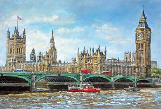 The Thames At Westminster - Malcolm Surridge - Surrey Artist - Pastels and Drawings - Limited Edition Fine Art Prints