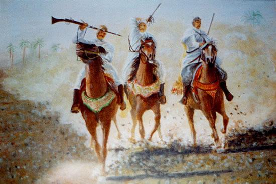 Three Bedouin Horsemen - W.R. Kimber - Surrey Artist Bill Kimber - Byfleet Art Society