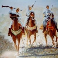 Three Bedouin Horsemen – W.R. Kimber – Surrey Artist Bill Kimber – Byfleet Art Society