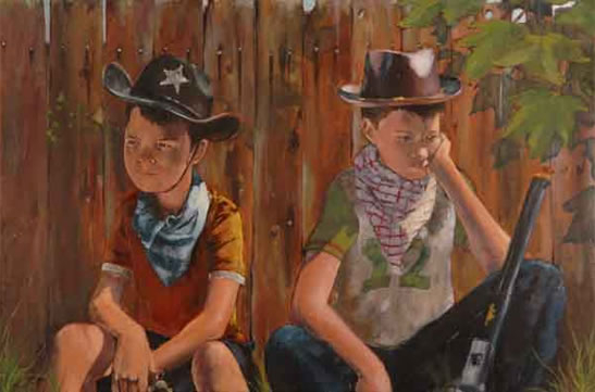 Too Few Role Models - Boys Playing with Guns - Sussex Artist - William E. Rochfort