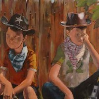 Too Few Role Models – Children Playing with Guns – Sussex Artist – William E. Rochfort