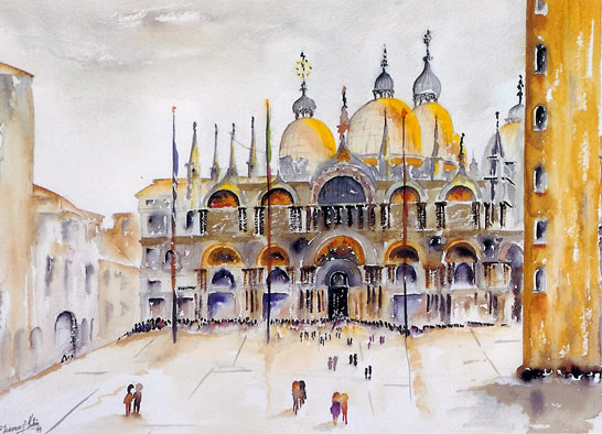 Venice - St Mark's Basilica - Landscape - Surrey Artist Terence J. Kitson - Paintings in Watercolour and Oil - Byfleet Art Group