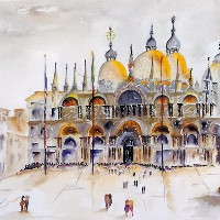 Venice – St Mark's Basilica – Surrey Artist Terence J. Kitson – Paintings in Watercolour and Oil – Byfleet Art Group