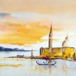 Venice – St Mark's Basin and Island of San Giorgio – Surrey Artist Terence J. Kitson – Paintings in Watercolour and Oil – Byfleet Art Group