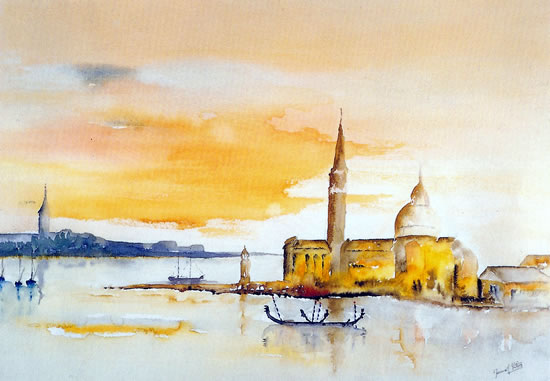 Venice - St Mark's Basin and Island of San Giorgio - Surrey Artist Terence J. Kitson - Paintings in Watercolour and Oil - Byfleet Art Group