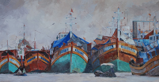 Vietnam - Mekong Delta Boats - Mark Dorsett - Watercolour and Oil Paintings - Littleton Artists Group