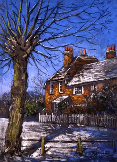 Winter Cottages - Malcolm Surridge - Artist - Landscape Paintings - Surrey Artists Gallery
