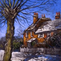 Winter Cottages – Malcolm Surridge – Artist – Landscape Paintings – Surrey Artists Gallery