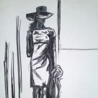 Woman – Smart Dress and Hat – Sweet Deceit – Rachael Tan – Surrey Artist – Drawings in Charcoal and Pencil
