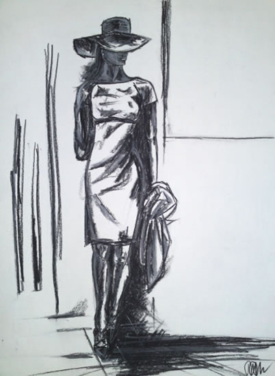 Woman - Smart Dress and Hat - Sweet Deceit - Rachael Tan - Surrey Artist - Drawings in Charcoal and Pencil