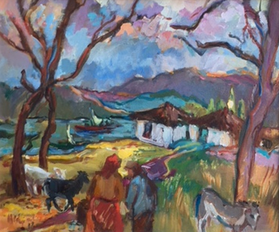 African Village With Animals - Oil Painting by Molesey Surrey Artist Hildegarde Reid