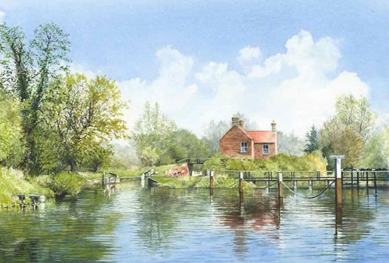 Walsham Gates Approach - Lock & Weir On Basingstoke Canal At Ripley - National Trust - Wey Navigation Art Gallery - Fine Art Prints Of Painting By Woking Surrey Artist