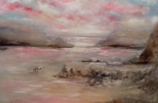 Dramatic Skies Art Gallery - Wales Beach Scene - Oil Painting by Cranleigh Surrey Artist Kathy Plank