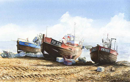 Mediterranean Fishing Boats Painting Art Gallery - David Drury