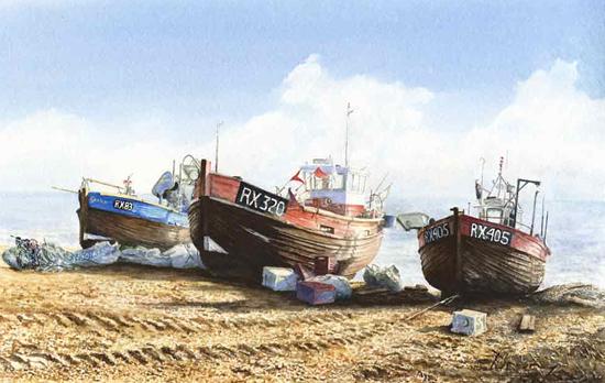Mediterranean Fishing Boats Painting Art Gallery - David Drury