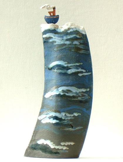 Contemporary Ceramics and Pottery - Artist Terri Smart - High Seas Jaunty Tug - Coast Art Gallery