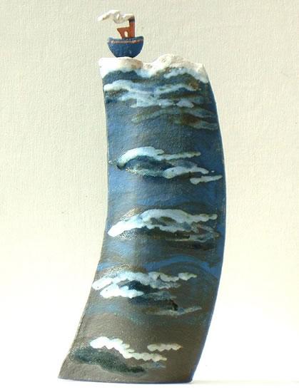 Contemporary Ceramics and Pottery - Artist Terri Smart - High Seas Jaunty Tug - Coast Art Gallery