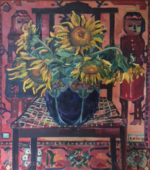 Sunflowers - Oil Painting on Canvas by Thames Valley Art Society Member - Artist Hildegarde Reid