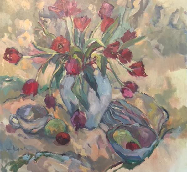 Tulips Painting by Weybridge Surrey Art Society Member - Artist Hildegarde Reid - Molesey Studio