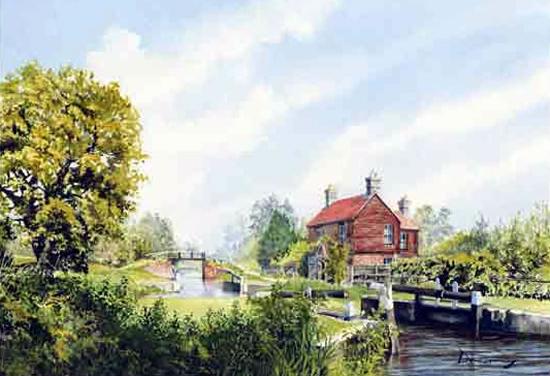 Walsham Gates Pyrford - Lock On Basingstoke Canal - Wey Navigation Art Gallery - Fine Art Prints Of Painting By Woking Surrey Artist David Drury