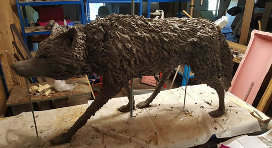 Wolf Sculpture - Life Size Commission - Cranleigh Surrey Artist Kathy Plank