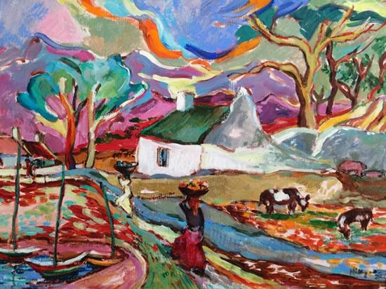 African Village Scene Oil Painting by Surrey Artist and Art Tutor Hildegarde Reid