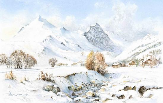 Alpine Shadows - Snow Scene by David Drury