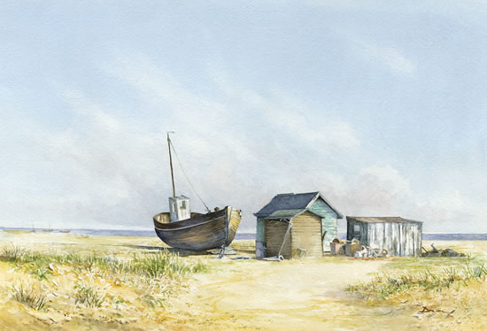Beached Boat Art Prints - David Drury