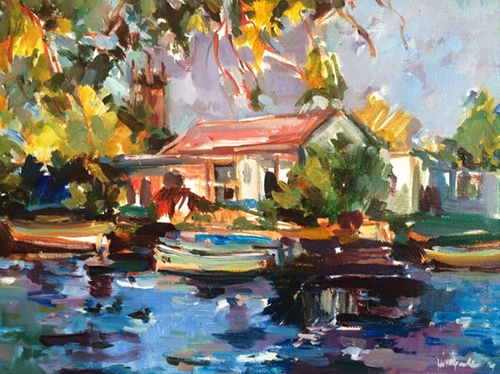 Boathouse - Acrylic Painting by Molesey Art Society Member and Surrey Artist Hildegarde Reid