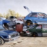 Cars Scrapheap – Disposable Dream – Surrey Artists Gallery Fine Art Prints – Noël Haring