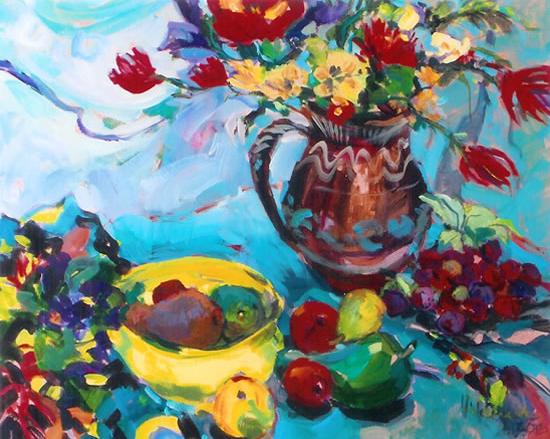 Flowers and Fruit Still Life Painting - Hildegarde Reid