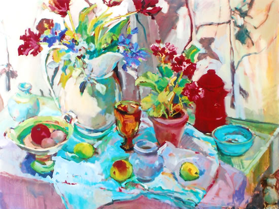 Flowers and Pottery Painting by Weybridge Art Society Member Molesey Surrey Artist Hildegarde Reid
