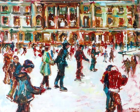 Ice Skating Fun - Painting by Thames Art Society Member Molesey Surrey Artist Hildegarde Reid