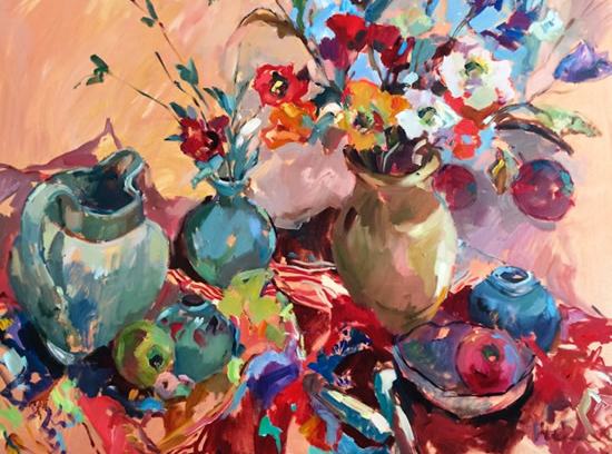 Jugs and Flowers Still Life- Chelsea Art Society Member Molesey Surrey Artist Hildegarde Reid