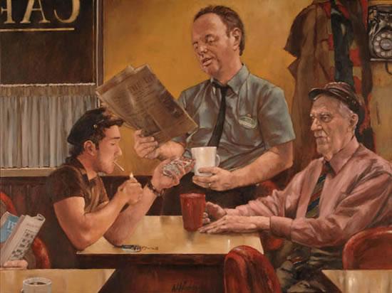 Late Night Cafe - William E Rochfort Fine Art Prints