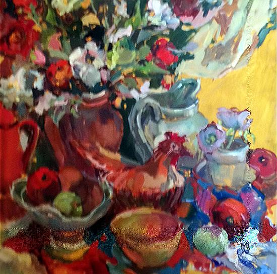 Lillies and Ceramic Chicken Still Life - Hildegarde Reid