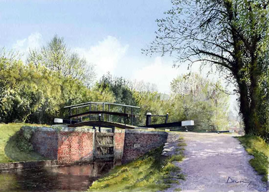 Lock at St John's Lye - David Drury Surrey Artist