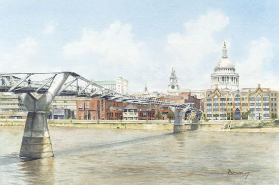 London England Millennium Bridge River Thames