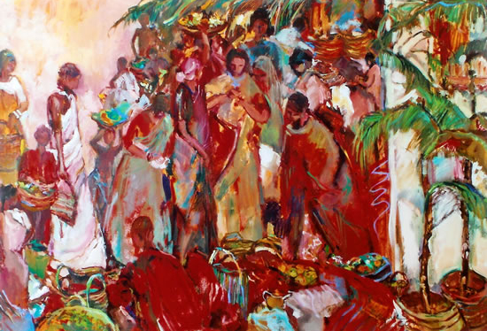 Market Scene Oil Painting by Chelsea Art Society Member - Hildegarde Reid