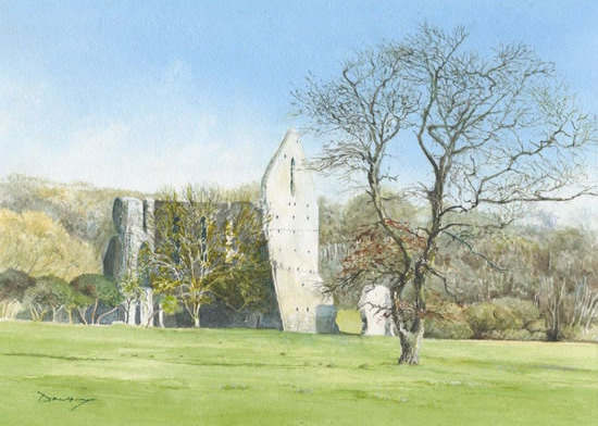 Newark Priory Ripley Surrey - David Drury Watercolour