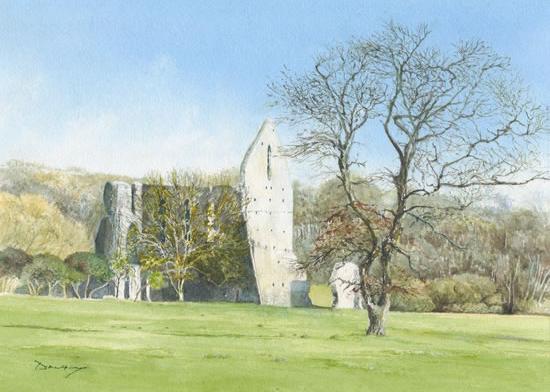 Newark Priory Ripley Surrey - David Drury Watercolour