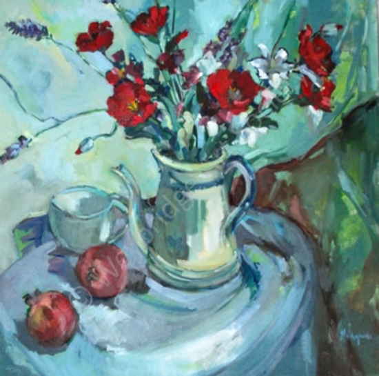 Poppies Still Life Painting by Thames Art Society Member and Surrey Artist - Hildegarde Reid