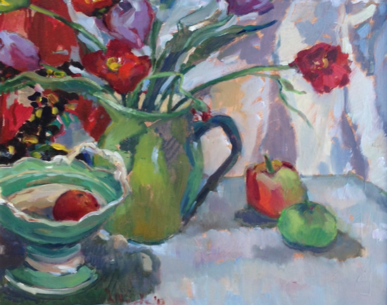 Poppies in Green Vase - Still Life - Sunbury on Thames Art Society Member Hildegarde Reid