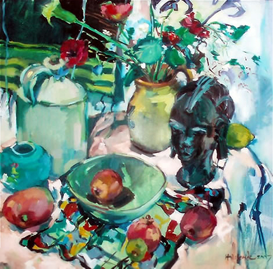 African Head and Plants - Still Life Painting by Hildegarde Reid