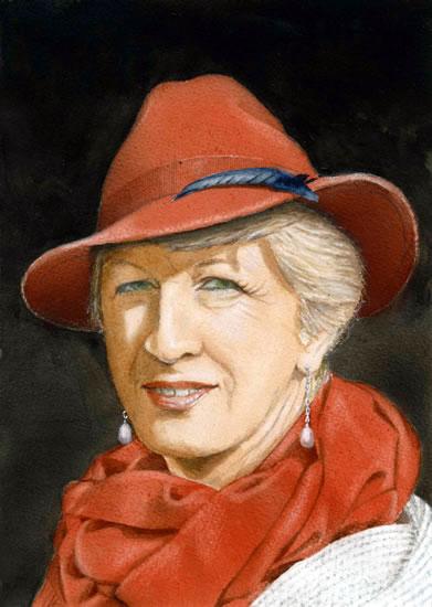Anne Wearing an Orange Hat Portrait by Noël Haring