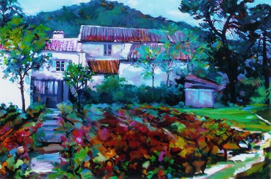 Autumn Vineyard in France - Chelsea Art Society Artist Hildegarde Reid