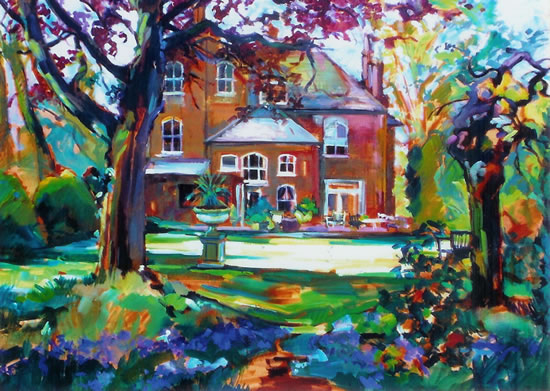 Bluebell Time - House in the Woods by Molesey Artist and Art Tutor Hildegarde Reid