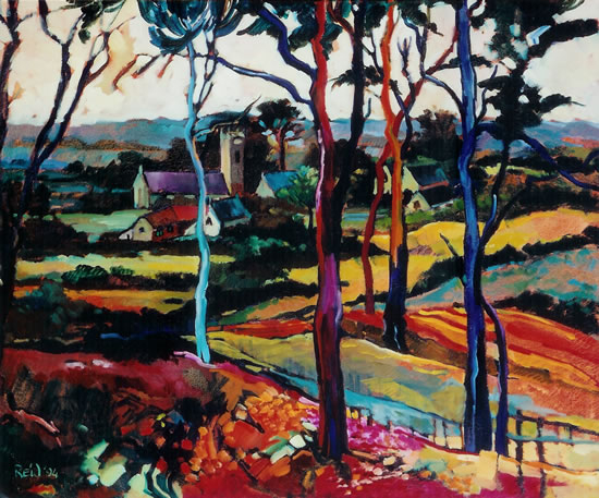Fauve-Inspired Landscape - Church through the Trees - Surrey Artist Hildegarde Reid
